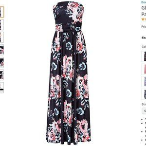 VANILLABAY Black Floral Print Strapless Maxi Dress